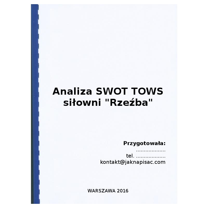 """Analiza SWOT TOWS siłowni """"Rzeźba"""" – przykład"""
