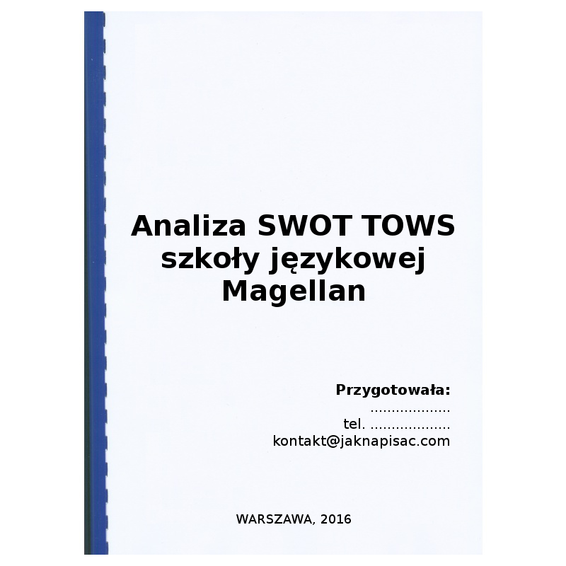 Analiza SWOT TOWS szkoły językowej Magellan