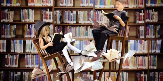 Kids Reading Books in Fantasy Library