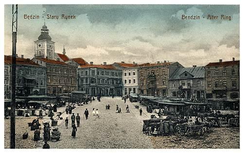 Stary Rynek w Będzinie (pocz. XX w.)