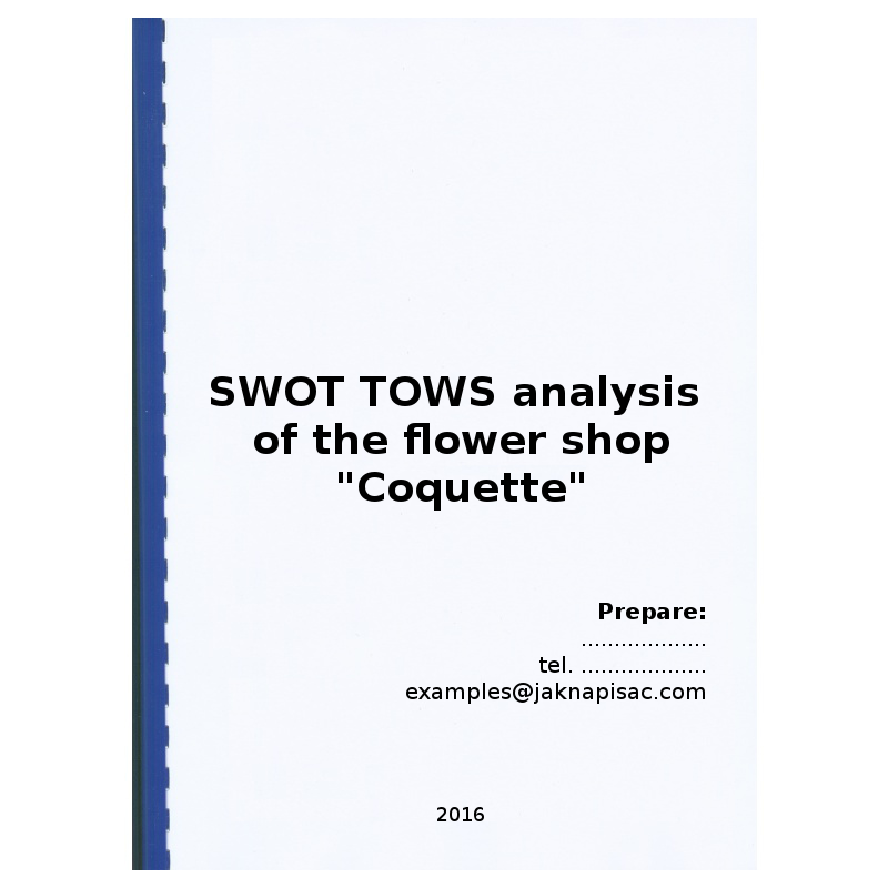 """SWOT TOWS analysis of the flower shop """"Coquette"""" - example"""