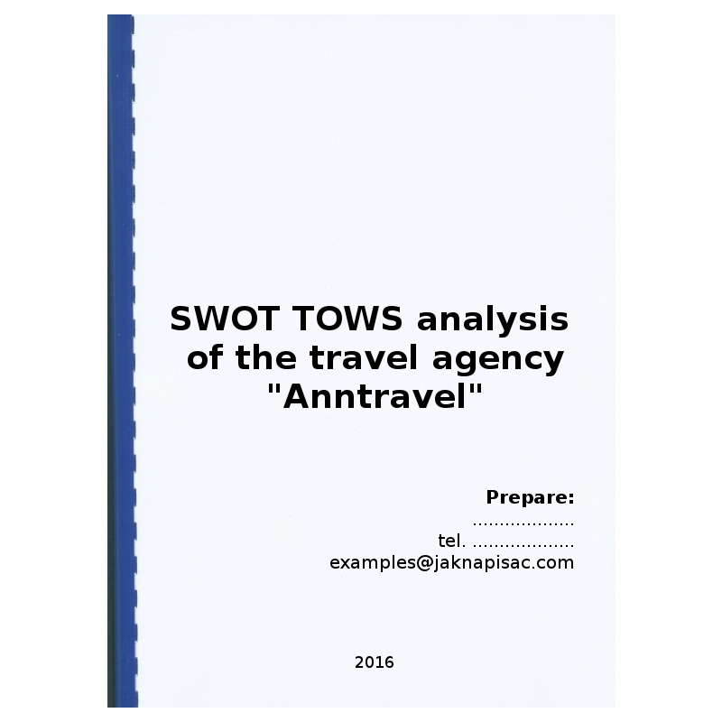 SWOT TOWS analysis of the travel agency Anntravel