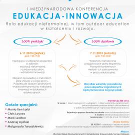 EDUKACJA – INNOWACJA – rola edukacji nieformalnej, w tym outdoor education w kształceniu i rozwoju